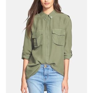 Equipment Major Silk Blouse Safari Green S